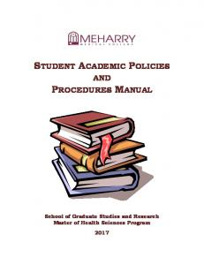 STUDENT ACADEMIC POLICIES AND PROCEDURES MANUAL