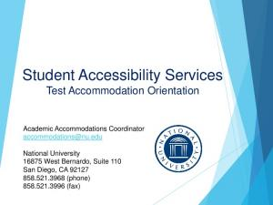 Student Accessibility Services Test Accommodation Orientation