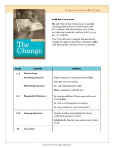 Student Activities for The Change
