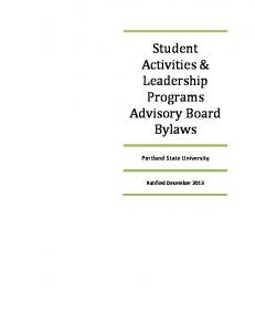 Student Activities & Leadership Programs Advisory Board Bylaws. Portland State University