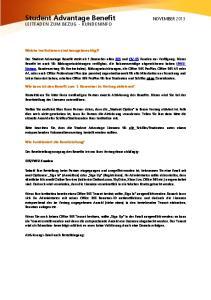 Student Advantage Benefit NOVEMBER 2013 LEITFADEN ZUM BEZUG - KUNDENINFO