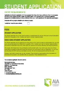 STUDENT APPLICATION ENTRY REQUIREMENTS FEES STUDENT APPLICATION HONG KONG STUDENT APPLICATION