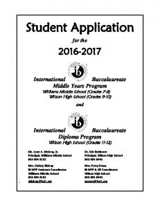 Student Application. for the