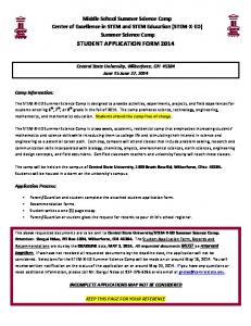 STUDENT APPLICATION FORM 2014