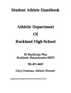Student Athlete Handbook. Athletic Department Of Rockland High School