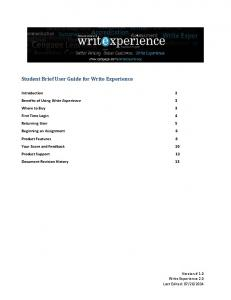 Student Brief User Guide for Write Experience