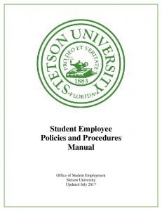 Student Employee Policies and Procedures Manual