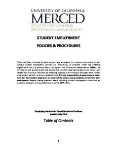 STUDENT EMPLOYMENT POLICIES & PROCEDURES