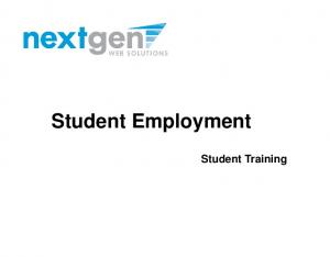 Student Employment. Student Training