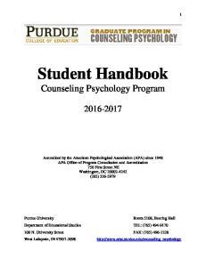 Student Handbook Counseling Psychology Program