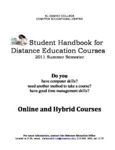 Student Handbook for Distance Education Courses 2011 Summer Semester