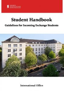 Student Handbook Guidelines for Incoming Exchange Students
