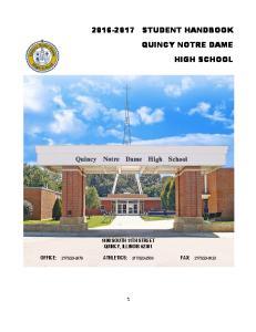 STUDENT HANDBOOK QUINCY NOTRE DAME HIGH SCHOOL
