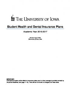 Student Health and Dental Insurance Plans