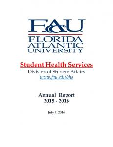 Student Health Services (SHS) Annual Report