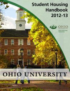Student Housing Handbook OHIO UNIVERSITY
