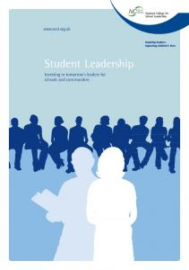 Student Leadership Investing in tomorrow s leaders for schools and communities