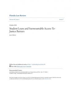 Student Loans and Surmountable Access-To- Justice Barriers