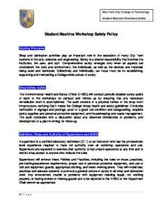 Student Machine Workshop Safety Policy