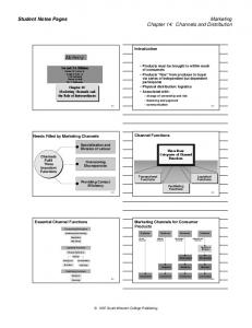 Student Notes Pages. Marketing Chapter 14: Channels and Distribution. Marketing. Introduction. Channel Functions. Needs Filled by Marketing Channels