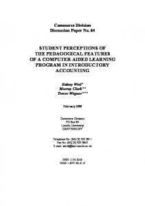 STUDENT PERCEPTIONS OF THE PEDAGOGICAL FEATURES OF A COMPUTER-AIDED LEARNING PROGRAM IN INTRODUCTORY ACCOUNTING