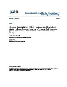 Student Perceptions of the Purpose and Function of the Laboratory in Science: A Grounded Theory Study