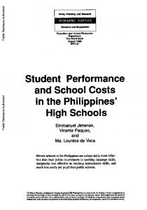 Student Performance and School Costs in the Philippines' High Schools