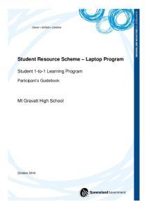Student Resource Scheme Laptop Program