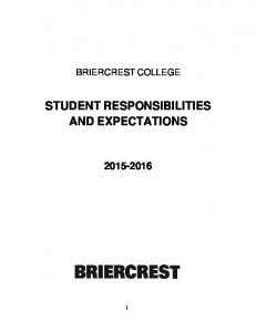 STUDENT RESPONSIBILITIES AND EXPECTATIONS