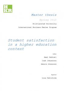 Student satisfaction in a higher education context