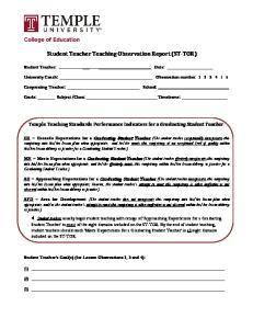 Student Teacher Teaching Observation Report (ST-TOR)