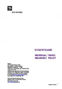 STUDENTGUARD INDIVIDUAL TRAVEL INSURANCE POLICY