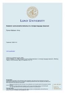 Students' communicative behaviour in a foreign language classroom
