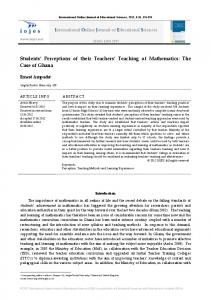 Students Perceptions of their Teachers Teaching of Mathematics: The Case of Ghana
