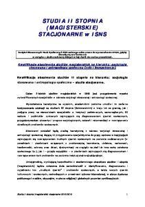 STUDIA II STOPNIA (MAGISTERSKIE) STACJONARNE w ISNS