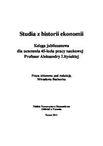 Studia z historii ekonomii