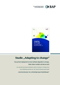 Studie Adapting to change