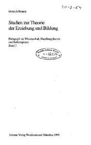 Studien zur Theorie der Erziehung und Bildung