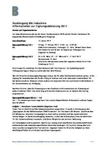Studiengang BSc Hebamme Informationen zur Eignungsabklärung 2017