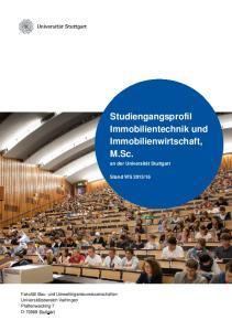 Studiengangsprofil Immobilientechnik und Immobilienwirtschaft, M.Sc