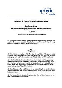 Studienordnung Bachelorstudiengang Buch- und Medienproduktion
