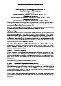 Studienordnung Doppelabschlussprogramme im Mannheim Master of Management