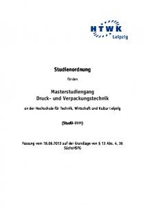 Studienordnung. Masterstudiengang Druck- und Verpackungstechnik