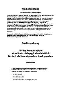 Studienordnung. Vorbemerkung zur Studienordnung
