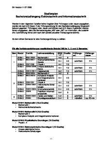 Studienplan Bachelorstudiengang Elektrotechnik und Informationstechnik