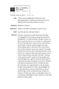 Studies in the Bible and Antiquity 5 (2013): (print), (online)