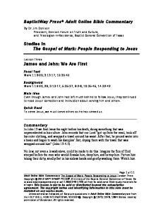 Studies in The Gospel of Mark: People Responding to Jesus