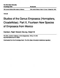Studies of the Genus Empoasca (Homoptera, Cicadellidae). Part X, Fourteen New Species of Empoasca from Mexico