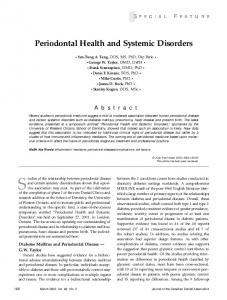 Studies of the relationship between periodontal disease. Periodontal Health and Systemic Disorders