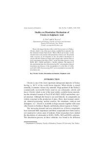 Studies on Dissolution Mechanism of Ulexite in Sulphuric Acid